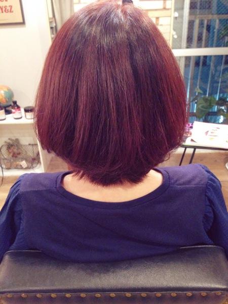 髪の毛赤みの強いカラー